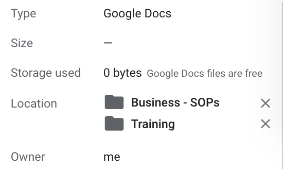 Showing multiple folders on Google Doc in Details pane