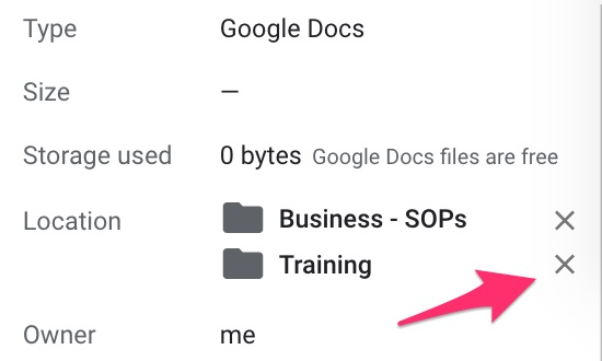 """Arrow pointing to Remove folder """"X"""" on Doc Details"""